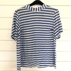 Banana Republic Mock Neck Striped Button Back Top